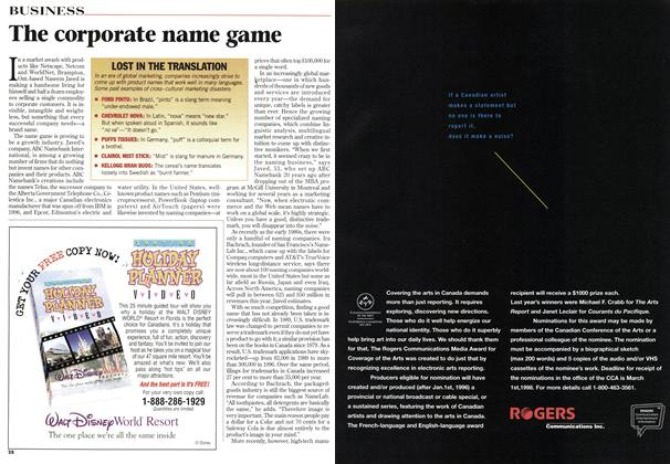 Article Preview: The corporate name game, January 1998 | Maclean's