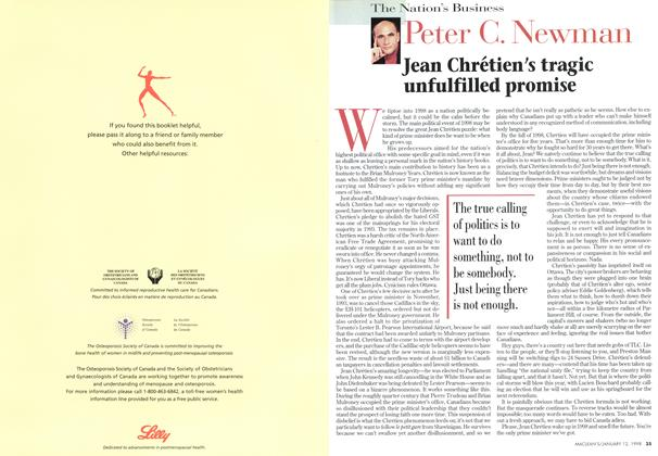 Article Preview: Jean Chrétien's tragic unfulfilled promise, January 1998 | Maclean's