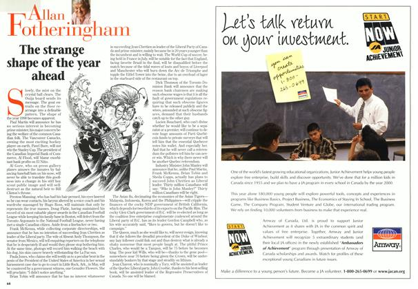 Article Preview: The strange shape of the year ahead, January 1998 | Maclean's
