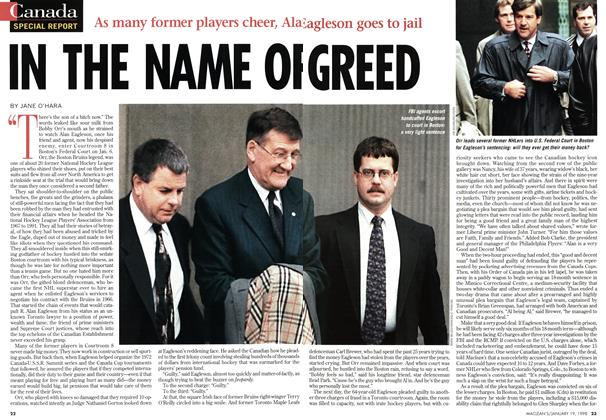 Article Preview: IN THE NAME OF GREED, January 1998 | Maclean's