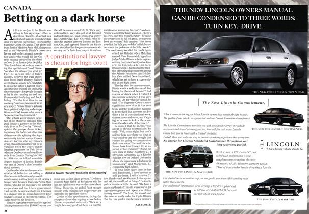Article Preview: Betting on a dark horse, January 1998 | Maclean's