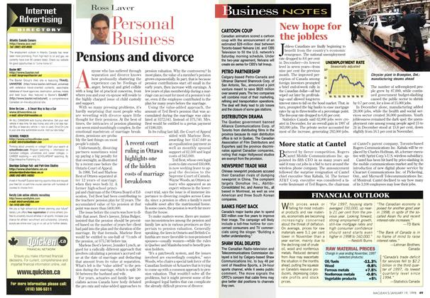 Article Preview: Pensions and divorce, January 1998 | Maclean's