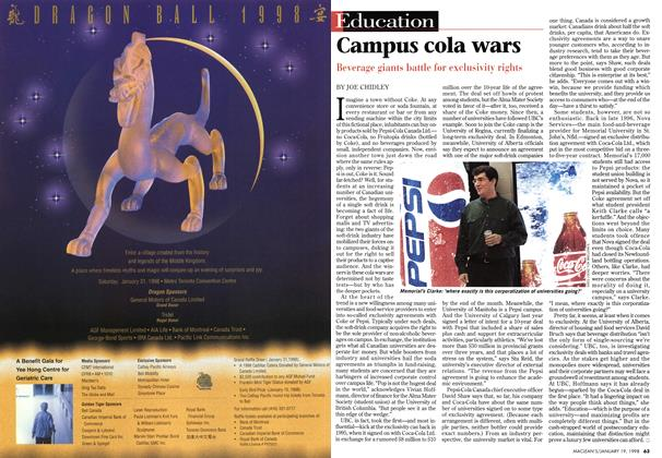 Article Preview: Campus cola wars, January 1998 | Maclean's