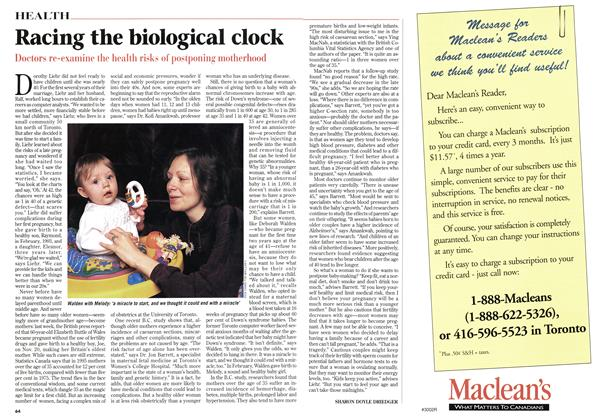 Article Preview: Racing the biological clock, January 1998 | Maclean's