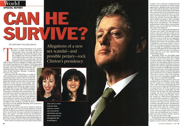 Article Preview: CAN HE SURVIVE?, February 1998 | Maclean's
