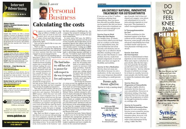 Article Preview: Calculating the costs, February 1998 | Maclean's