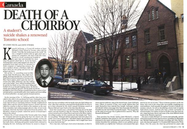 Article Preview: DEATH OF A CHOIRBOY, February 1998 | Maclean's