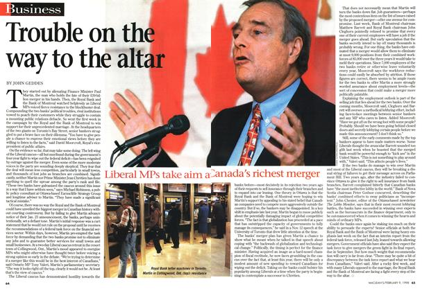 Article Preview: Trouble on the way to the altar, February 1998 | Maclean's