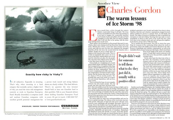 Article Preview: The warm lessons of Ice Storm '98, February 1998 | Maclean's