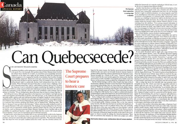 Article Preview: Can Quebecsecede?, February 1998 | Maclean's
