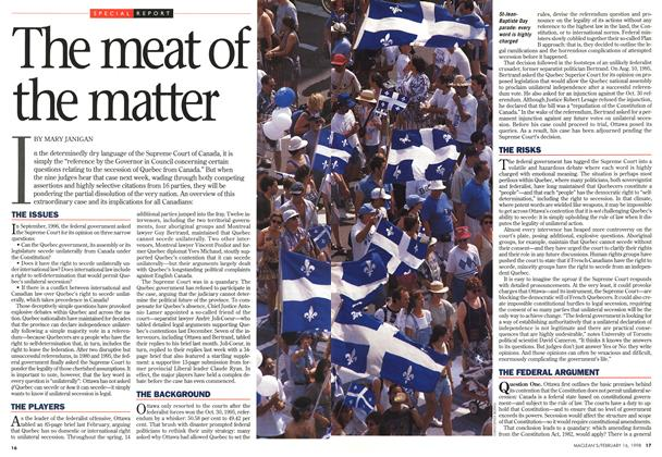 Article Preview: The meat of the matter, February 1998 | Maclean's