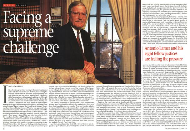 Article Preview: Facing a supreme challenge, February 1998 | Maclean's