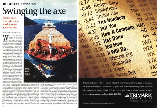 Article Preview: Swinging the axe, February 1998 | Maclean's