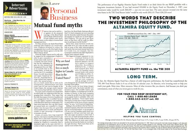 Article Preview: Mutual fund myths, February 1998 | Maclean's