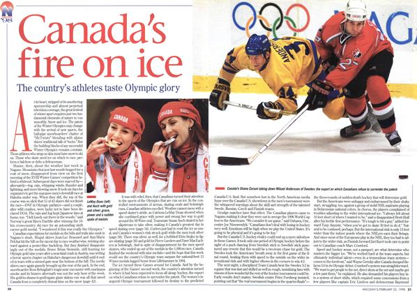 Article Preview: Canada's fire on ice, February 1998 | Maclean's