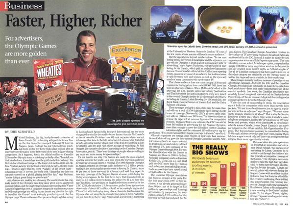 Article Preview: Faster, Higher, Richer, February 1998 | Maclean's