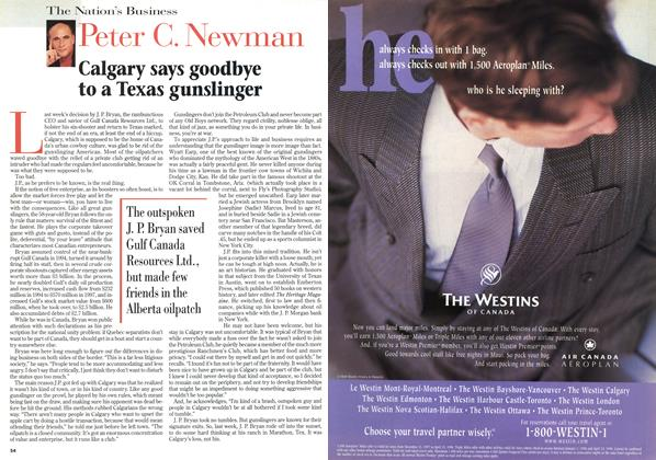 Article Preview: Calgary says goodbye to a Texas gunslinger, February 1998 | Maclean's