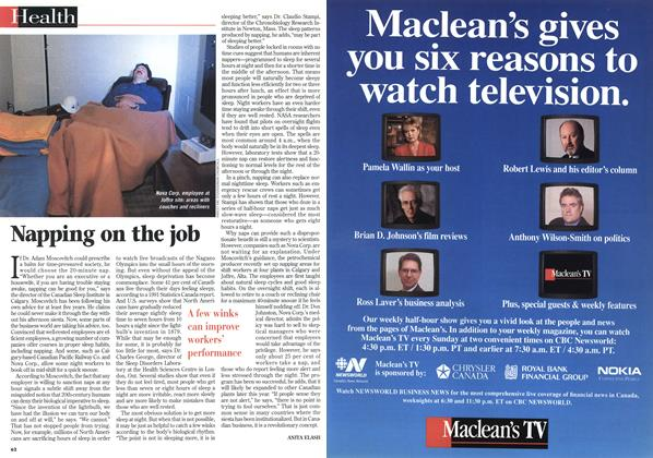 Article Preview: Napping on the job, February 1998 | Maclean's