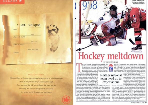 Article Preview: Hockey meltdown, March 1998 | Maclean's