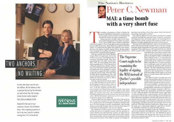 Article Preview: MAI: a time bomb with a very short fuse, March 1998 | Maclean's