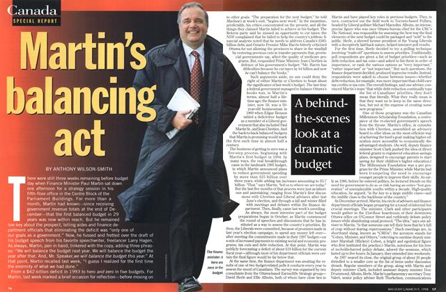 Article Preview: Martin's balancing act, March 1998 | Maclean's