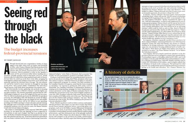 Article Preview: Seeing red through the black, March 1998 | Maclean's