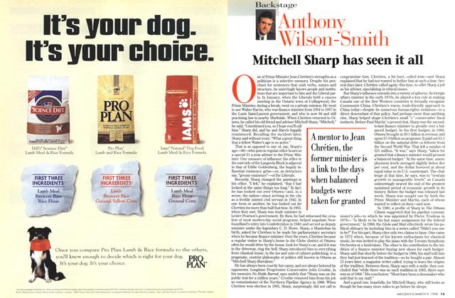 Article Preview: Mitchell Sharp has seen it all, March 1998 | Maclean's