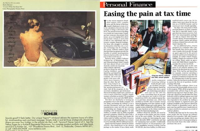 Article Preview: Easing the pain at tax time, March 1998 | Maclean's