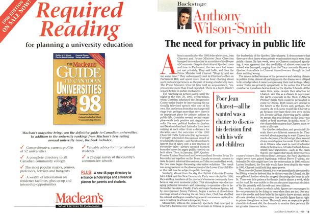 Article Preview: The need for privacy in public life, March 1998 | Maclean's