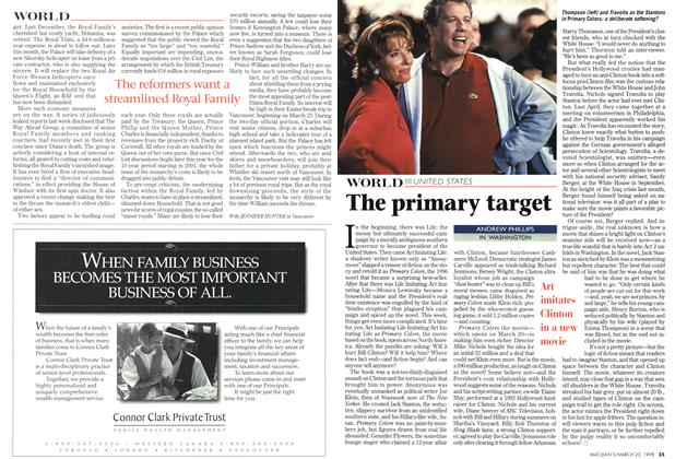 Article Preview: The primary target, March 1998 | Maclean's