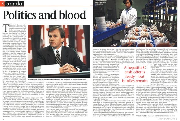 Article Preview: Politics and blood, March 1998   Maclean's