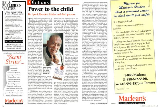 Article Preview: Power to the child, March 1998 | Maclean's