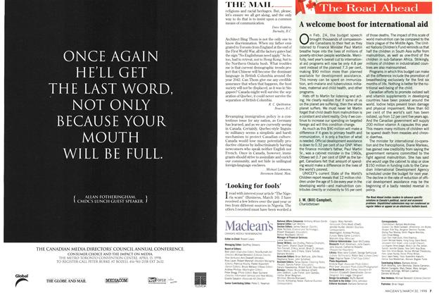 Article Preview: The Road Ahead, March 1998 | Maclean's