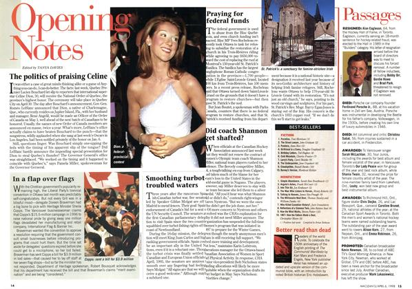 Article Preview: The politics of praising Celine, April 1998 | Maclean's