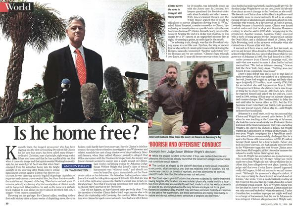 Article Preview: Is he home free?, April 1998 | Maclean's