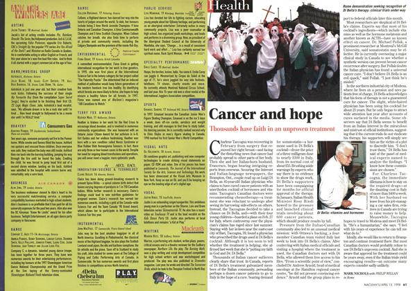 Article Preview: Cancer and hope, April 1998 | Maclean's