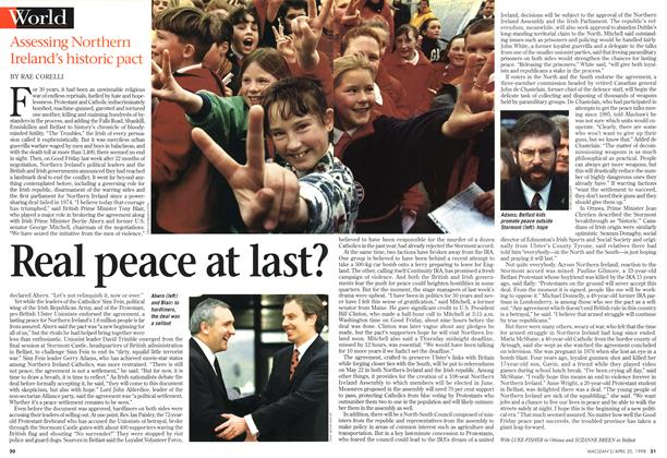 Article Preview: Real peace at last?, April 1998 | Maclean's