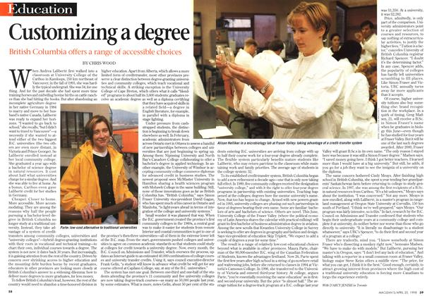 Article Preview: Customizing a degree, April 1998 | Maclean's