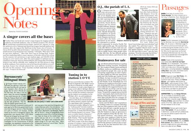 Article Preview: A singer covers all the bases, April 1998   Maclean's
