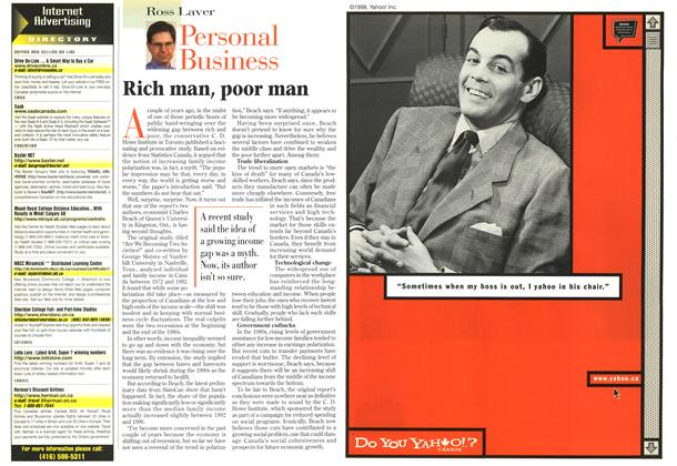 Article Preview: Rich man, poor man, April 1998 | Maclean's