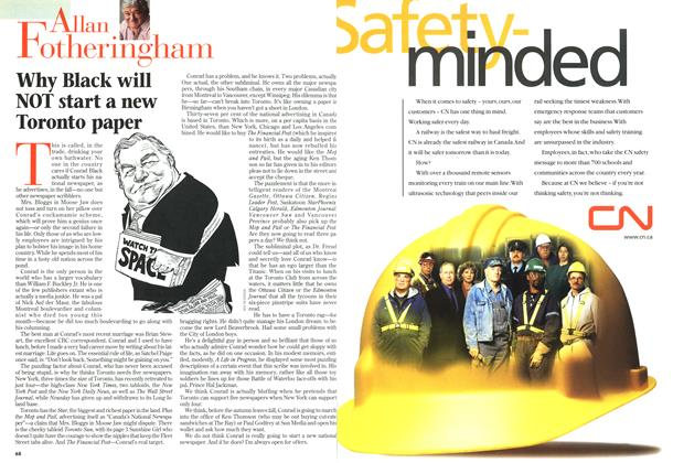 Article Preview: Why Black will NOT start a new Toronto paper, April 1998 | Maclean's
