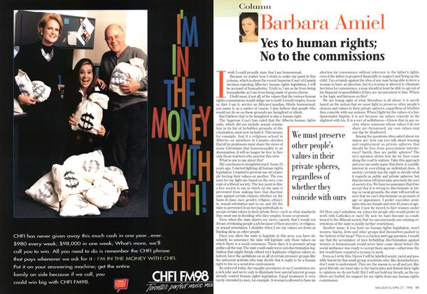 Article Preview: Yes to human rights; No to the commissions, April 1998 | Maclean's