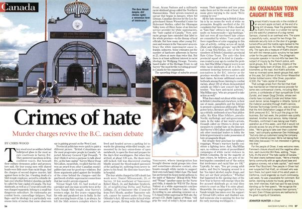 Article Preview: Crimes of hate, May 1998 | Maclean's