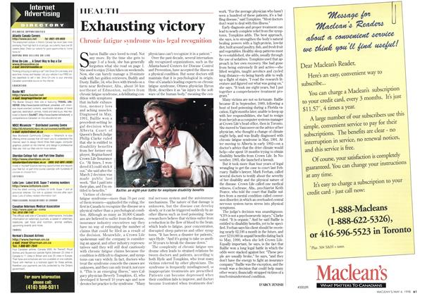 Article Preview: Exhausting victory, May 1998 | Maclean's