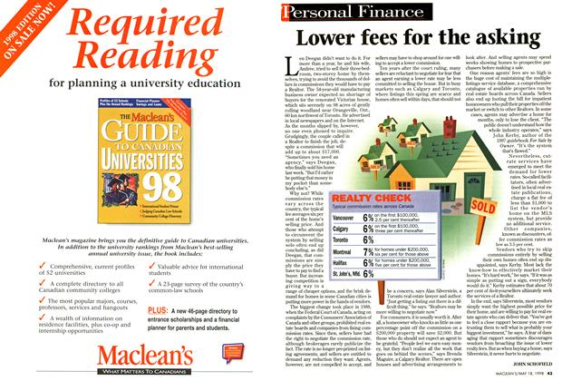 Article Preview: Lower fees for the asking, May 1998 | Maclean's