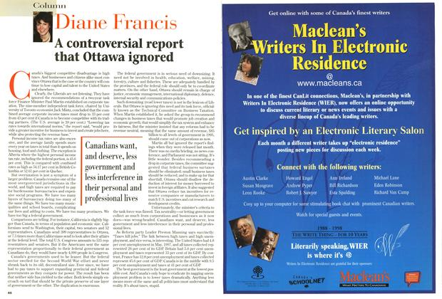 Article Preview: A controversial report that Ottawa ignored, May 1998 | Maclean's