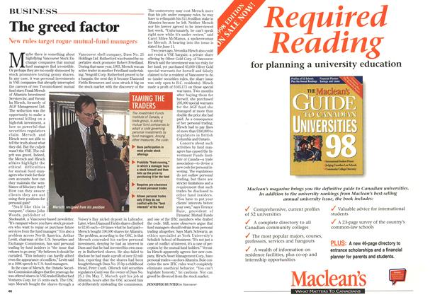 Article Preview: The greed factor, May 1998 | Maclean's