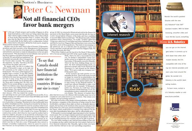 Article Preview: Not all financial CEOs favor bank mergers, May 1998 | Maclean's