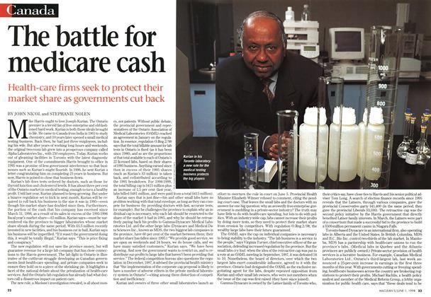 Article Preview: The battle for medicare cash, June 1998 | Maclean's