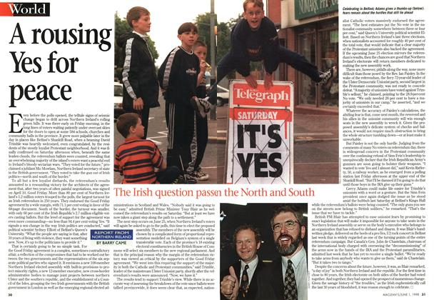 Article Preview: A rousing Yes for peace, June 1998 | Maclean's